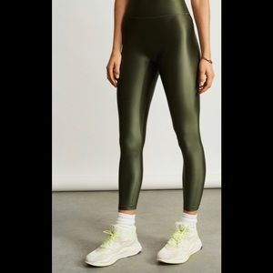 All Access Olive Green Center Stage Shiny Leggings